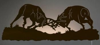 """42"""" Fighting Bull Elk LED Back Lit Lighted Metal Wall Art"""