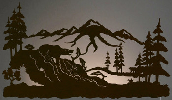 """42"""" Bear Fishing in the Woods LED Back Lit Lighted Metal Wall Art"""