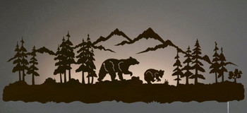 "42"" Black Bear Family LED Back Lit Lighted Metal Wall Art"