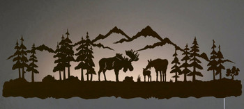 "42"" Moose Family LED Back Lit Lighted Metal Wall Art"