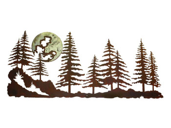 "57"" Pine Tree Forest with Moon Metal Wall Art"