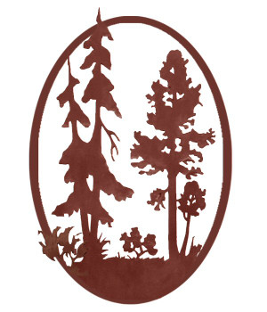 "22"" Aspen Tree and Pine Tree Metal Wall Art"