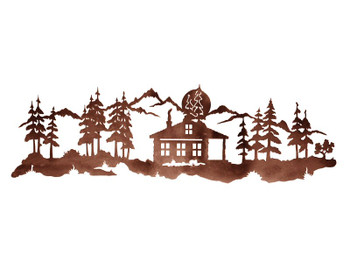 "42"" Cabin in Pine Forest Metal Wall Art"