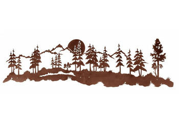 "84"" Midnight Moon and Forest Metal Wall Art"