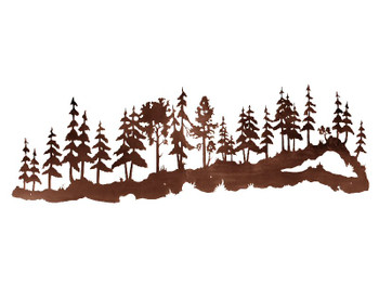 "84"" Large Pine Tree Forest Metal Wall Art"