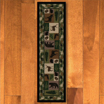 2' x 8' Wildlife Retreat Multi Animal Rectangle Runner Rug