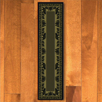 2' x 8' Bear Family Green Wildlife Rectangle Runner Rug