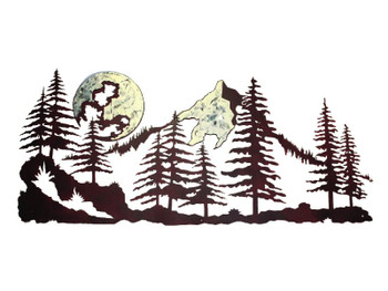 "57"" Mountain Scene with Moon Metal Wall Art"