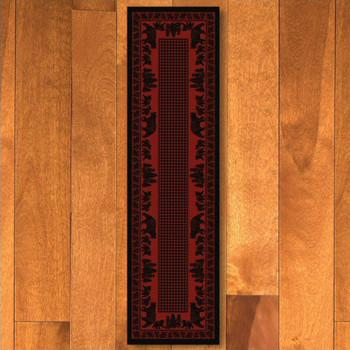 2' x 8' Bear Family Red Wildlife Rectangle Runner Rug