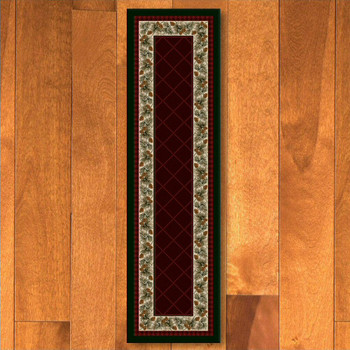 2' x 8' Evergreen Garnet Pinecones Nature Rectangle Runner Rug