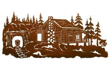 "57"" Miners Cabin Scenic Metal Wall Art"