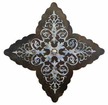 "25"" Damask Burnished Metal Wall Art"