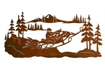 "42"" Snowmobile Rider Scenic Metal Wall Art"