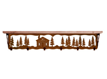 """42"""" Cabin in the Pines Metal Wall Shelf and Hooks with Pine Wood Top"""