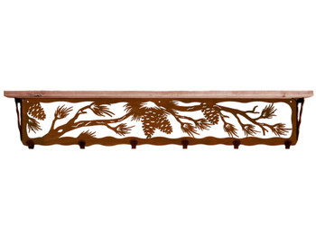 """42"""" Pine Cone Metal Wall Shelf and Hooks with Pine Wood Top"""