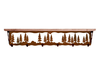 "42"" Pine Trees Metal Wall Shelf and Hooks with Pine Wood Top"