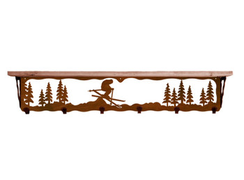 "42"" Snow Skier Metal Wall Shelf and Hooks with Pine Wood Top"