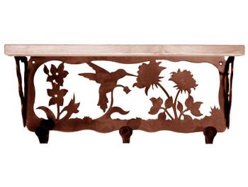 "20"" Hummingbird Metal Wall Shelf and Hooks with Pine Wood Top"