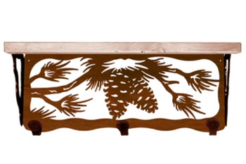 """20"""" Pine Cone Metal Wall Shelf and Hooks with Pine Wood Top"""