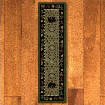 2' x 8' Patchwork Bear & Pinecones Green Wildlife Rectangle Runner Rug