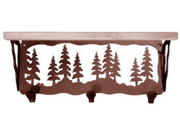 "20"" Pine Trees Metal Wall Shelf and Hooks with Alder Wood Top"