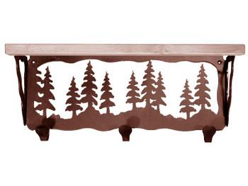 "20"" Pine Trees Metal Wall Shelf and Hooks with Pine Wood Top"
