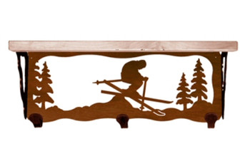 "20"" Snow Skier Metal Wall Shelf and Hooks with Pine Wood Top"