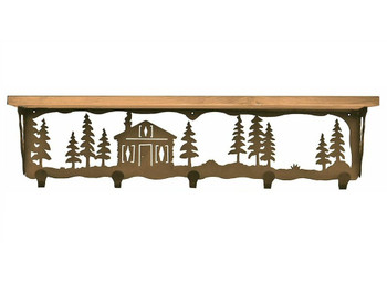 """34"""" Cabin in the Pines Metal Wall Shelf and Hooks with Alder Wood Top"""