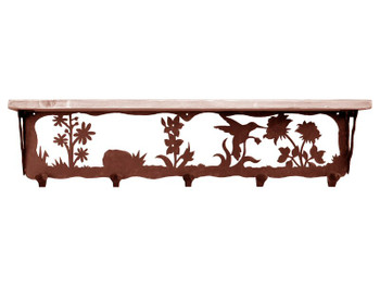 "34"" Hummingbird Metal Wall Shelf and Hooks with Alder Wood Top"