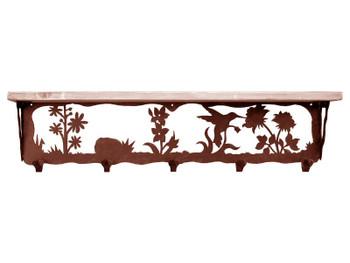 "34"" Hummingbird Metal Wall Shelf and Hooks with Pine Wood Top"