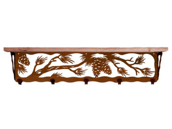 "34"" Pine Cone Metal Wall Shelf and Hooks with Pine Wood Top"