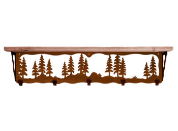 """34"""" Pine Trees Metal Wall Shelf and Hooks with Alder Wood Top"""