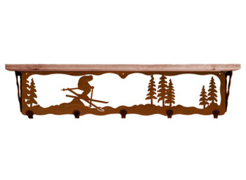 """34"""" Skier Metal Wall Shelf and Hooks with Pine Wood Top"""