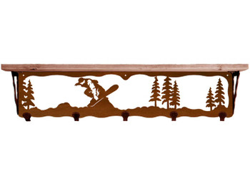 "34"" Snowboarder Metal Wall Shelf and Hooks with Pine Wood Top"