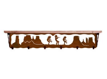 """42"""" Dancing Kokopellis Metal Wall Shelf and Hooks with Pine Wood Top"""