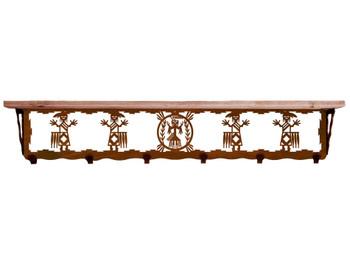 "42"" Yei Metal Wall Shelf and Hooks with Pine Wood Top"