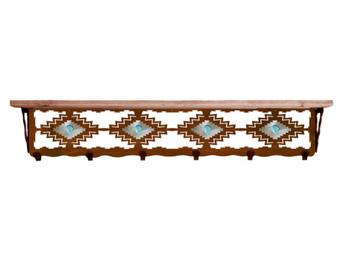 "42"" Desert Diamond & Turquoise Stone Metal Wall Shelf & Alder Wood Top"