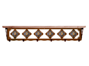 "42"" Picture Jasper Stone Metal Wall Shelf & Hooks with Alder Wood Top"