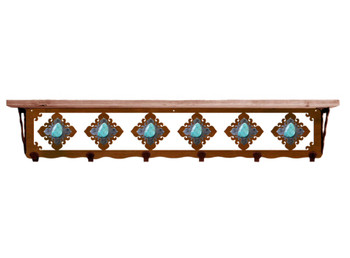 "42"" Turquoise Stone Metal Wall Shelf and Hooks with Pine Wood Top"