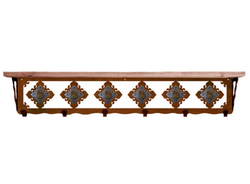 "42"" Unakite Stone Metal Wall Shelf and Hooks with Alder Wood Top"