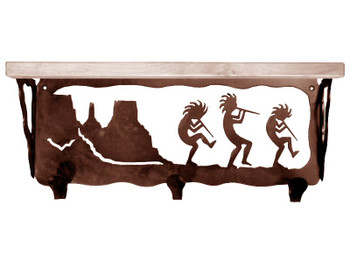 "20"" Dancing Kokopellis Metal Wall Shelf and Hooks with Pine Wood Top"