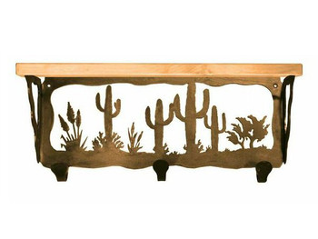 "20"" Desert Scene Metal Wall Shelf and Hooks with Pine Wood Top"