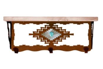 "20"" Desert Diamond with Turquoise Metal Wall Shelf & Pine Wood Top"
