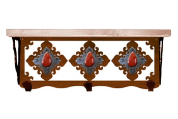 "20"" Red Jasper Stone Metal Wall Shelf and Hooks with Alder Wood Top"