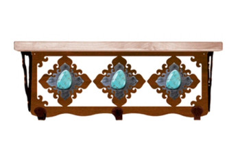 "20"" Turquoise Stone Metal Wall Shelf and Hooks with Alder Wood Top"