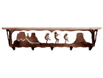 "34"" Dancing Kokopellis Metal Wall Shelf and Hooks with Alder Wood Top"