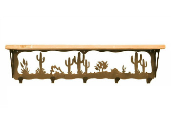 "34"" Desert Scene Metal Wall Shelf and Hooks with Pine Wood Top"