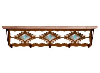 "34"" Desert Diamond with Turquoise Metal Wall Shelf & Pine Wood Top"