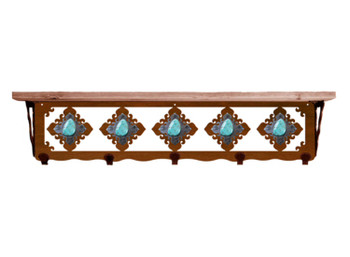 "34"" Turquoise Stone Metal Wall Shelf and Hooks with Alder Wood Top"