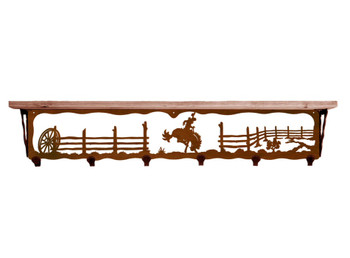 "42"" Bucking Bronco Rider Metal Wall Shelf & Hooks with Alder Wood Top"